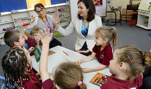 Một tiết học chữ tạilớp Prep của trường tiểu học ở Queensland, Australia. Ảnh: NVCC.