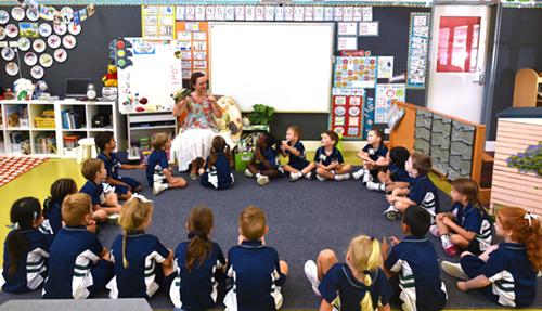 Học sinh Australia được khuyến khích đọc sách từ nhỏ. Ảnh tiết học chữ tạilớp Prep của trường tiểu học ở Queensland, Australia. Ảnh:NVCC.