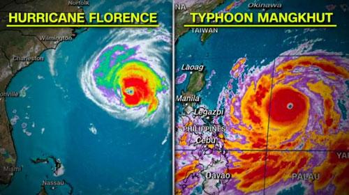 So sánh quy mô giữa bão Florence (trái) và bão Mangkhut. Đồ họa: WeatherModels.