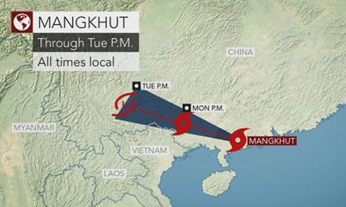 Đường đi dự kiến của bão Mangkhut sau khi đổ bộ Trung Quốc. Đồ họa: AccuWeather.