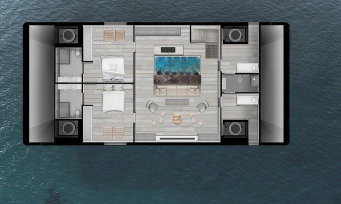 Mẫu nhà nổi trên biển có thể chống bão mạnh cấp 4