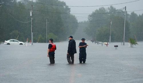 Nhân viên cứu hộ tìm kiếm người và động vật ở vùng ngập lụt Lumberton, Bắc Carolina hôm 16/9. Ảnh: Reuters.