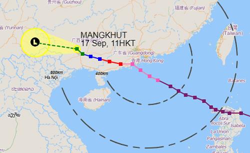 Dự báo đường đi và khu vực ảnh hưởng của áp thấp nhiệt đới lúc 11h trưa nay. Ảnh: Đài Hong Kong.