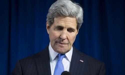Ngoại trưởng Mỹ John Kerry phát biểu tại London hồi năm 2014. Ảnh: Reuters.