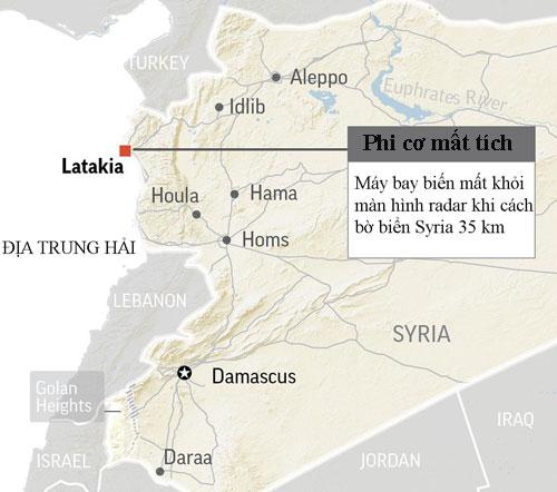 Vị trí chiếc Il-20 gặp nạn ngoài khơi Syria tối 17/9. Đồ họa: AP.