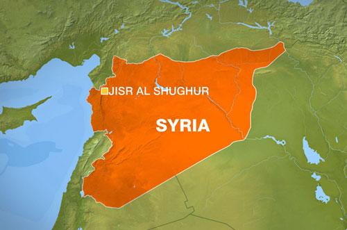 Vị trí thị trấn Jisr al-Shughur ở tỉnh Idlib, tây bắc Syria. Đồ họa: Al Jazeera.