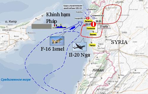 Đồ họa mô phỏng đường bay của F-16 Israel và Il-20 Nga trước khi xảy ra sự cố. Ảnh: RT.
