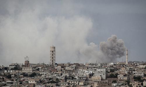 Vị trí phiến quân Syria tại Idlib bị không kích hồi đầu năm. Ảnh: AFP.