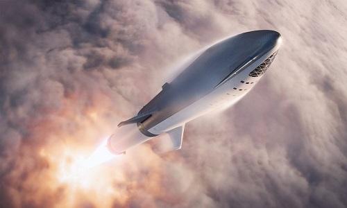 Tên lửa BFR sẽ chở người, vật tưlên Mặt Trăng và sao Hỏa. Ảnh: Twitter.