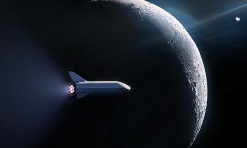 Mô phỏng tàu vũ trụ BFR bay vòng quanh Mặt Trăng. Ảnh: Twitter.