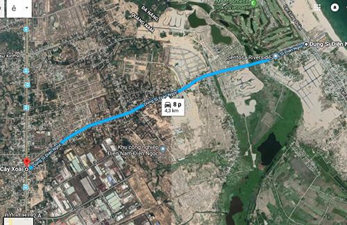 Đường ĐT 603 nối ĐT 607 dài hơn 4 km nhưng hai doanh nghiệp đầu tư 2,5 km với số vốn hơn 100 tỷ đồng và được giao đất 174 ha đất. Ảnh: Google map.