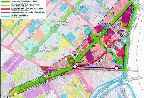 Ý tưởng quy hoạch các tuyến phố đi bộ liên hoàn (màu xanh lá) ở trung tâm TP HCM của Sở Quy hoạch - Kiến trúc. Ảnh: Hữu Nguyên