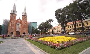 Vườn hoa 700m2 mới trước nhà thờ Đức Bà