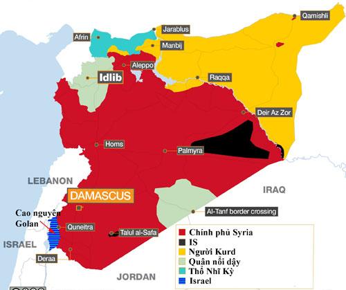 Các lực lượng đang kiểm soát lãnh thổ của Syria. Đồ họa: Al Jazeera.