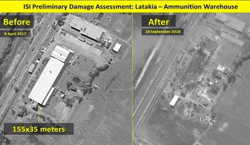 Một kho đạn của quân đội Syria tại Latakia hôm 9/4/2017 (trái) và 18/9/2018. Ảnh: ISI.