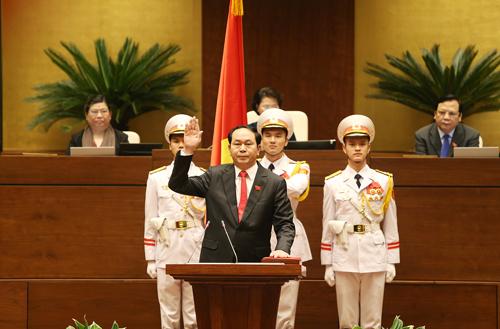 Chủ tịch nước Trần Đại Quang tuyên thệ nhậm chức.