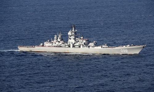 Tàu chiến Nga hoạt động ở Địa Trung Hải hồi đầu tháng. Ảnh: Bộ Quốc phòng Anh.