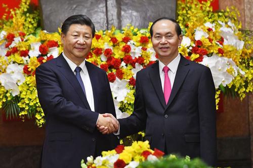Chủ tịch nước Trần Đại Quang tiếp Tổng bí thư, Chủ tịch Trung Quốc Tập Cận Bình.