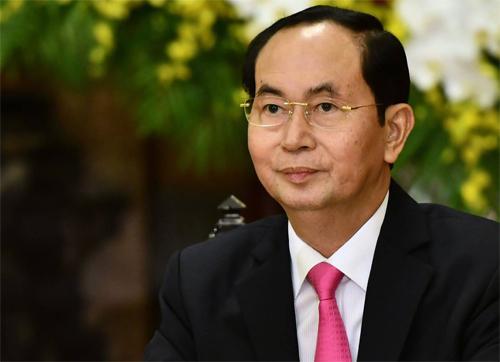 Chủ tịch nước Trần Đại Quang tại lễ đón Tổng thống Hàn Quốc tại Hà Nội tháng 3/2018. Ảnh: Giang Huy.