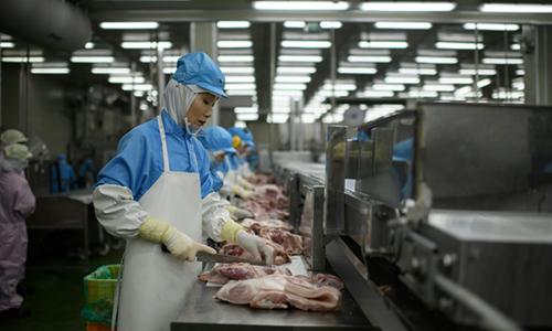 Chế biến thịt hộp Spam tại nhà máy ở Hàn Quốc. Ảnh: AFP.