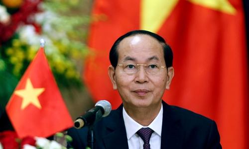 Chủ tịch nước Trần Đại Quang trongcuộc họp báo tại Hà Nội ngày 6/9/2017. Ảnh: Reuters.