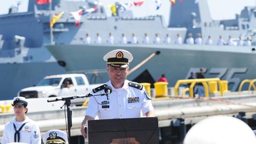 Tư lệnh Hải quân Trung Quốc, phó đô đốc Thẩm Kim Long. Ảnh: Xinhua.