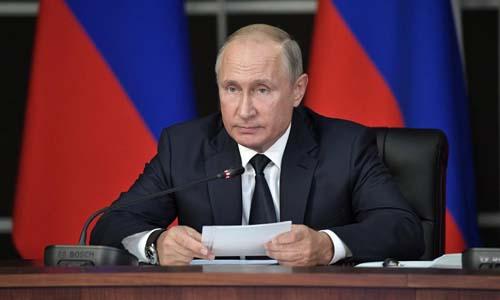 Tổng thống Nga Vladimir Putin trong một phiên họp tại ngoại ô Moskva hôm 19/9. Ảnh: Reuters.