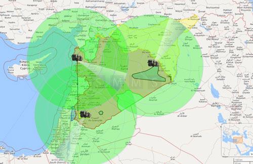 Kế hoạch ban đầu của Syria bố trí tên lửa S-300 bảo vệ không phận. Vòng tròn xanh là tầm bao quát 300 km của tên lửa S-300, nhưng phạm vi bắn hạ mục tiêu chỉ ở mức 195 km. Đồ họa: HAL.