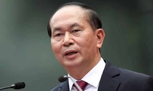 Chủ tịch nước Trần Đại Quang trong cuộc họp báo tại hà Nội tháng 11/2017. Ảnh: Reuters.