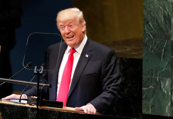 Tổng thống Mỹ Donald Trump phát biểu trước Đại hội đồng Liên Hợp Quốc ngày 25/9. Ảnh: Reuters.
