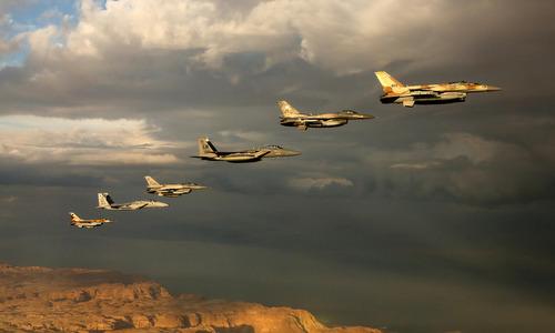 Tiêm kích Mỹ và Israel tập trận chung năm 2015. Ảnh: IAF.