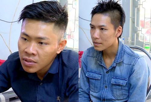 Dinh (trái) và Khang tại cơ quan công an. Ảnh: Quang Bình
