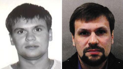 Ảnh trên hộ chiếu năm 2003 của Chepiga (trái) và ảnh nghi phạm Boshirov do cảnh sát Anh công bố. Ảnh: Bellingcat.
