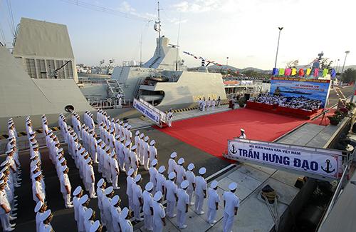 Tàu hộ vệ Trần Hưng Đạo trong lễ thượng cờ đưa vào hoạt động hồi tháng 2. Ảnh: Nguyễn Duy.