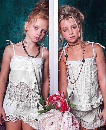 Cả mẫu sản phẩm lẫn biểu cảm và cách tạo dáng của các người mẫu nhí trong bộ ảnh của Alla Frenkel đều vấp phải sự phản đối của dư luận. Ảnh: East2west news