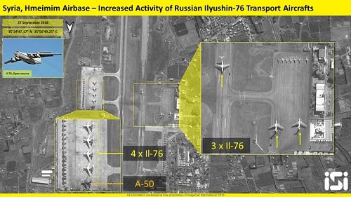 Nhiều máy bay Nga xuất hiện trong ảnh vệ tinh chụp căn cứ Hmeymim ngày 27/9. Ảnh: ISI.