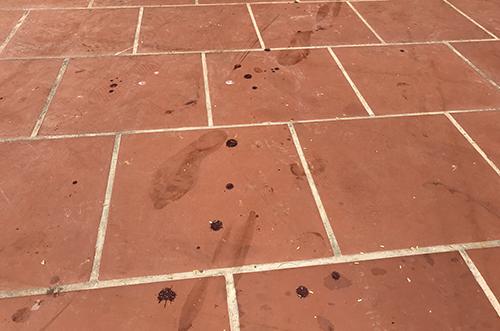 Những vết chân đầy máu ở hiện trường. Ảnh: Phạm Dự.