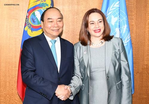 Thủ tướng tiếp Chủ tịch Đại hội đồng LHQ khóa 73 Maria Fernanda Espinosa Garces. Ảnh: VGP.