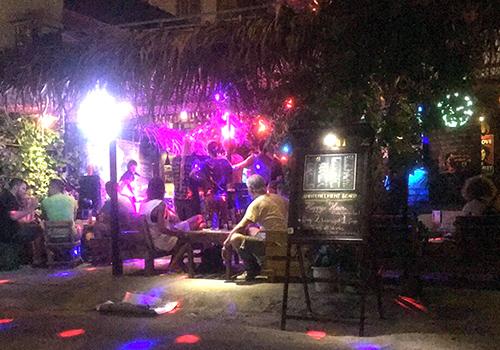Nhiều khách nước ngoài đang lắc lư theo điệu nhạc khi bị công an quận Ngũ Hành Sơn kiểm tra quán bar. Ảnh: N.T.
