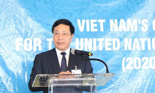 Phó thủ tướng Phạm Bình Minh trong buổi vận động tại New York. Ảnh: TTXVN.