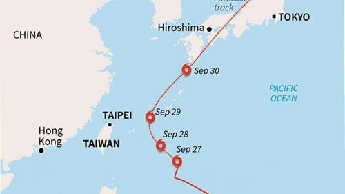 Đường đi của bão Trami. Đồ họa: AFP.