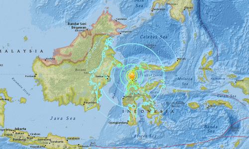 Tâm chấn của trận động đất mạnh 7,5 độ chiều 28/9. Đồ họa: USGS.