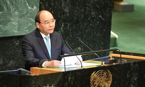 Thủ tướng phát biểu tại phiên thảo luận cấp cao tại Đại hội đồng Liên Hợp Quốc. Ảnh: VGP.