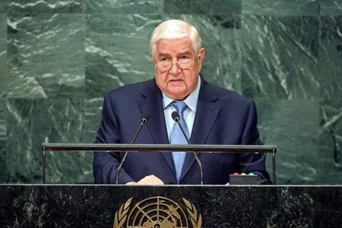 Ngoại trưởng Syria Walid Muallem phát biểu tại Đại hội đồng Liên Hợp Quốc hôm nay. Ảnh: Reuters.