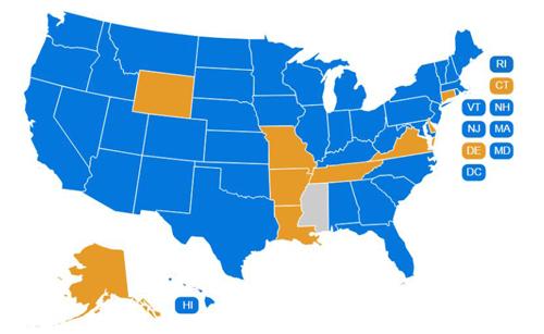 Bản đồ các bang ở Mỹ. Các bang màu xanh: có quy định cấm, các bang màu cam: không cấm nhưng hạn chế, bang màu xám: Không có bất cứ quy định gì. Ảnh: Responsibility.org
