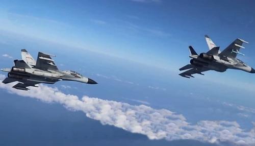 Máy bay Trung Quốc trong cuộc tập trận ở Biển Đông. Ảnh: CCTV.