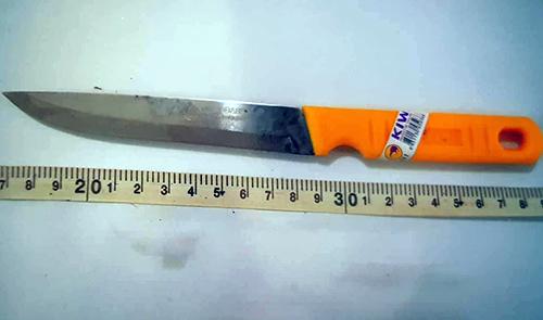 Con dao thiếu nữ 14 tuổi dùng sát hại nạn nhân. Ảnh: Công an cung cấp