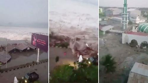 Sóng thần tràn vào bãi biển và nhà thờ Hồi giáo ở Palu hôm 28/9. Ảnh: BBC.