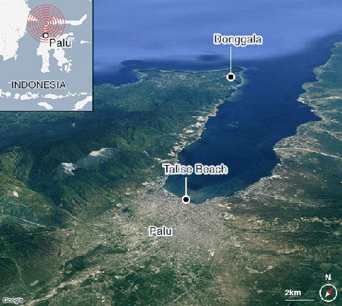 Địa thế nằm ở cuối vịnh dài và hẹp khiến thành phố Palu chịu ảnh hưởng nặng nề của sóng thần. Đồ họa: BMKG.