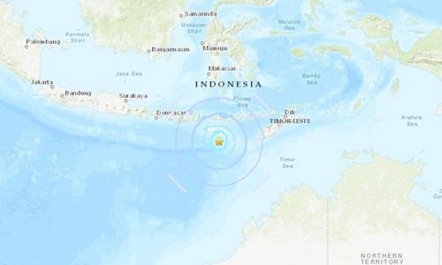 Vị trí tâm chấn trận động đất 5,9 độlúc 6h59 ngày 2/10. Đồ họa: USGS.